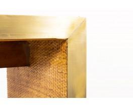 Console en laiton et rotin design contemporain italien