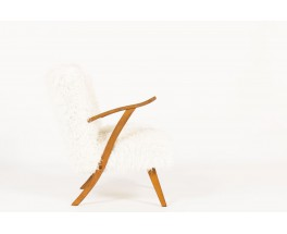 Armchairs in oak and white fur fabric 1950 set of 2
