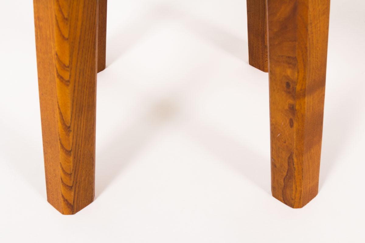 Pierre Chapo stools model S01R in elm 1970 set of 2