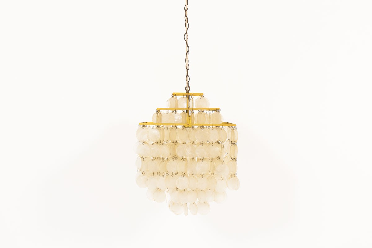 Pendant light in brass and mother-of-pearl 1970
