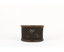 Round Bamileke coffee table model Spider in wood