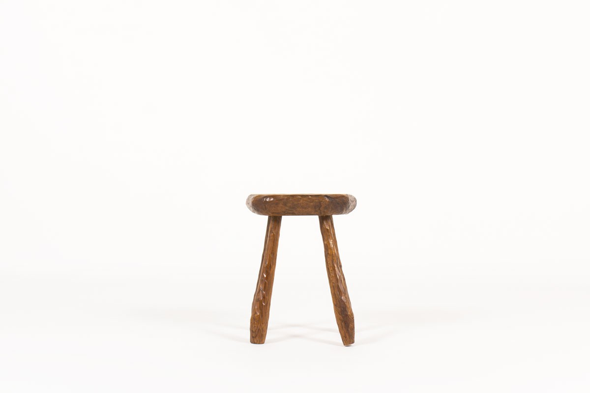 Stool in elm brutalist design 1950