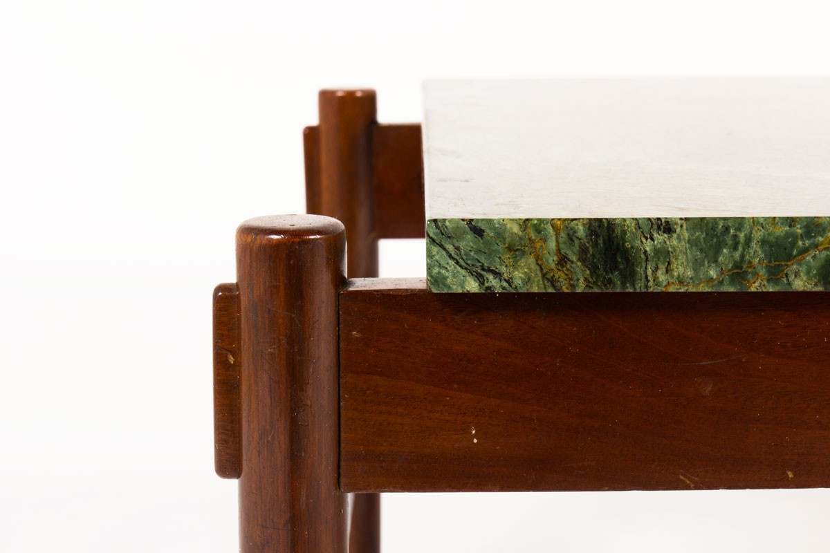 Table basse palissandre cuir et marbre vert édition Dujo Cuba 1970