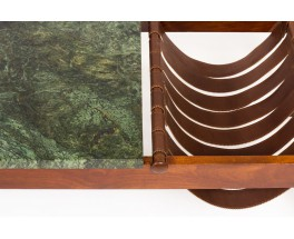 Coffee table in rosewood leather and green marble edition Dujo Cuba 1970