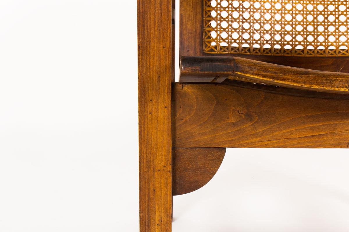 Pierre Dariel armchairs model Hendaye in walnut and caned 1930 set of 2