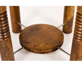 Table basse ronde en noyer 1950