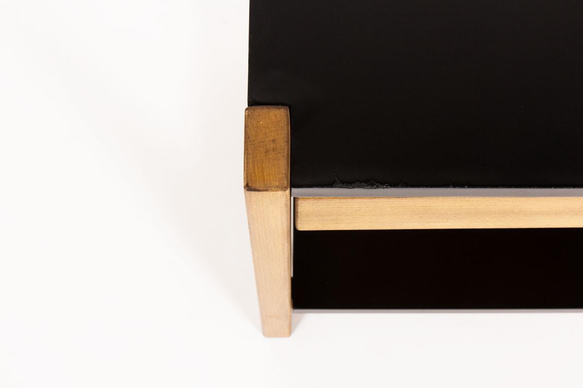 Chevets à tiroir André Sornay en hêtre teinté et laque 1960 set de 2