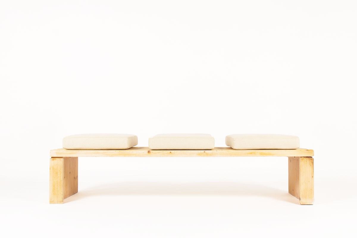 Charlotte Perriand large bench model Archeboc in pine Les Arcs 1970
