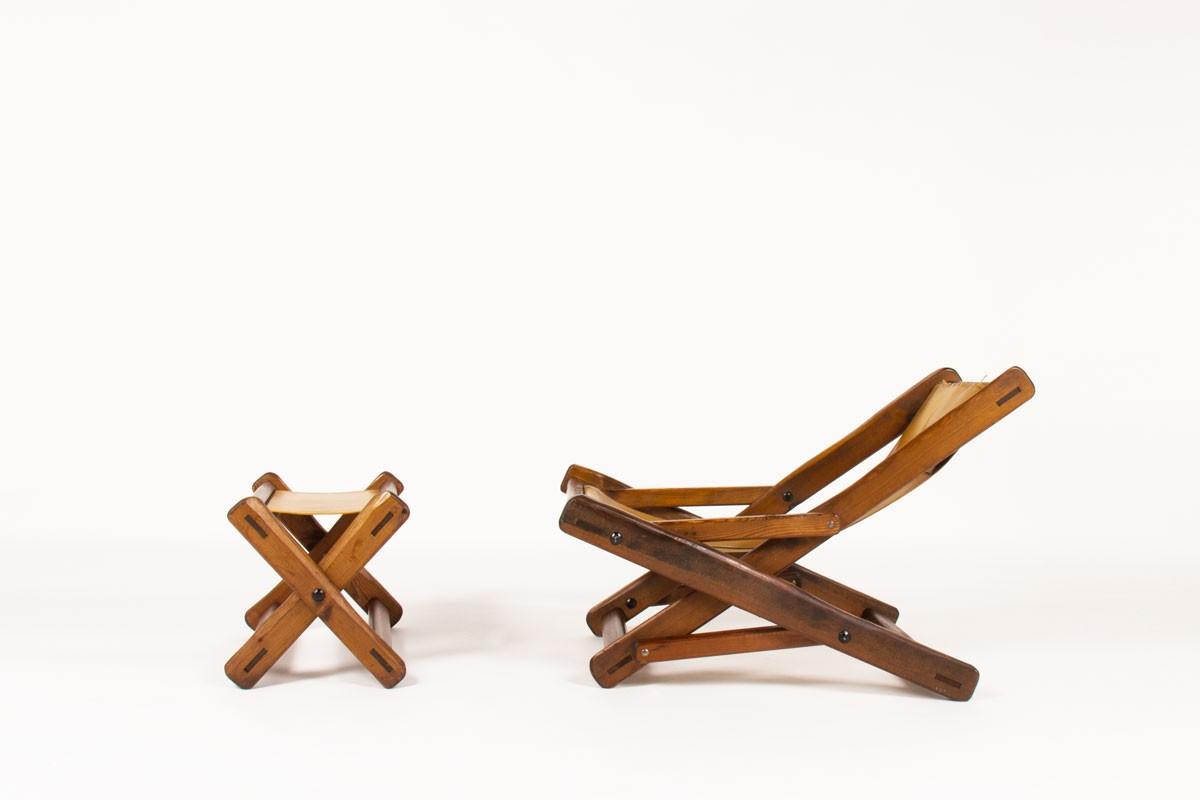 Fauteuil et repose-pieds en pin d'Oregon et cuir marron 1950