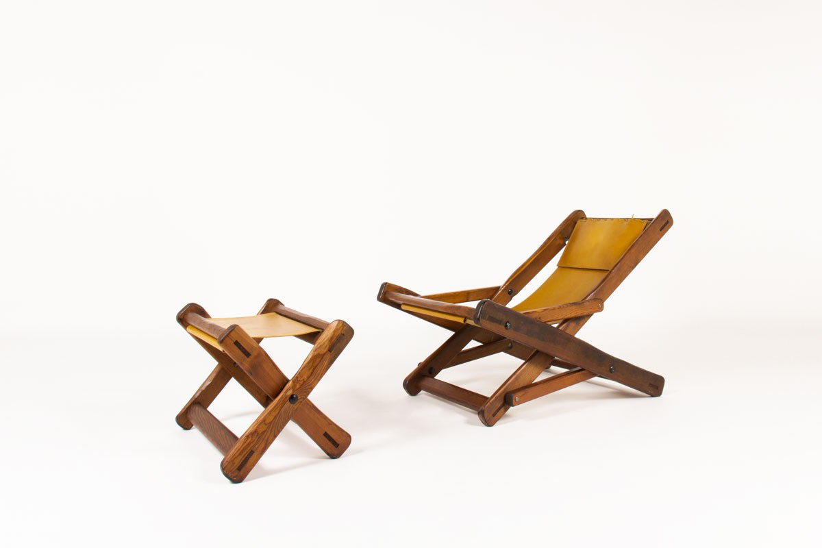 Armchair and footrest in Oregon pine and brown leather 1950