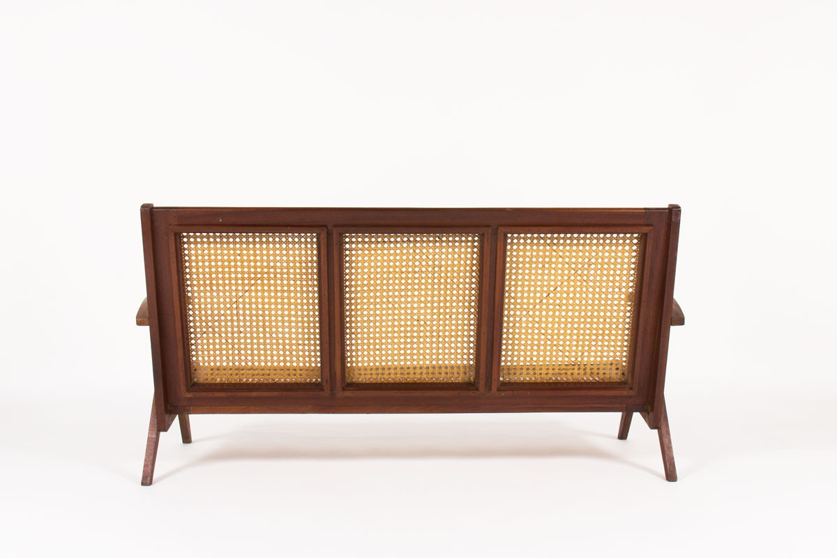 Sofa in teak and caned 1950