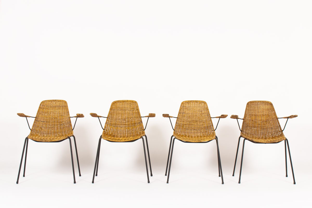 Gian Franco Legler armchairs model Basket edition Pierantonio Bonacina 1950 set of 4