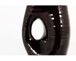 Vase Accolay en céramique marron  1950