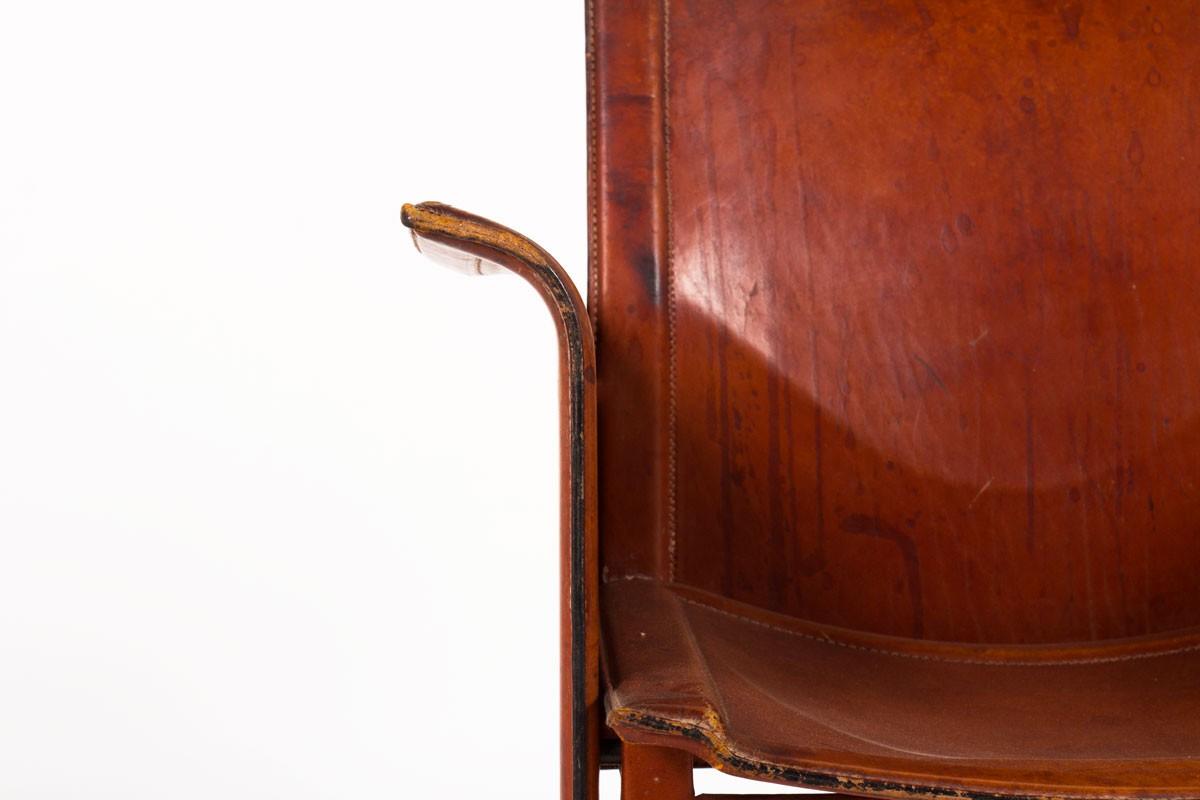 Fauteuil Tito Agnoli modèle Korium en cuir marron édition Mattéo Grassi 1970