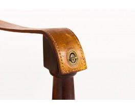 Fauteuils modèle Safari acajou et cuir marron 1960 set de 2