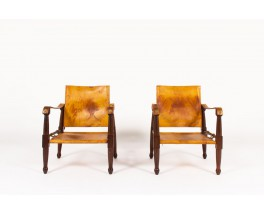 Armchairs model Safari mahogany and brown leather 1960 set of 2