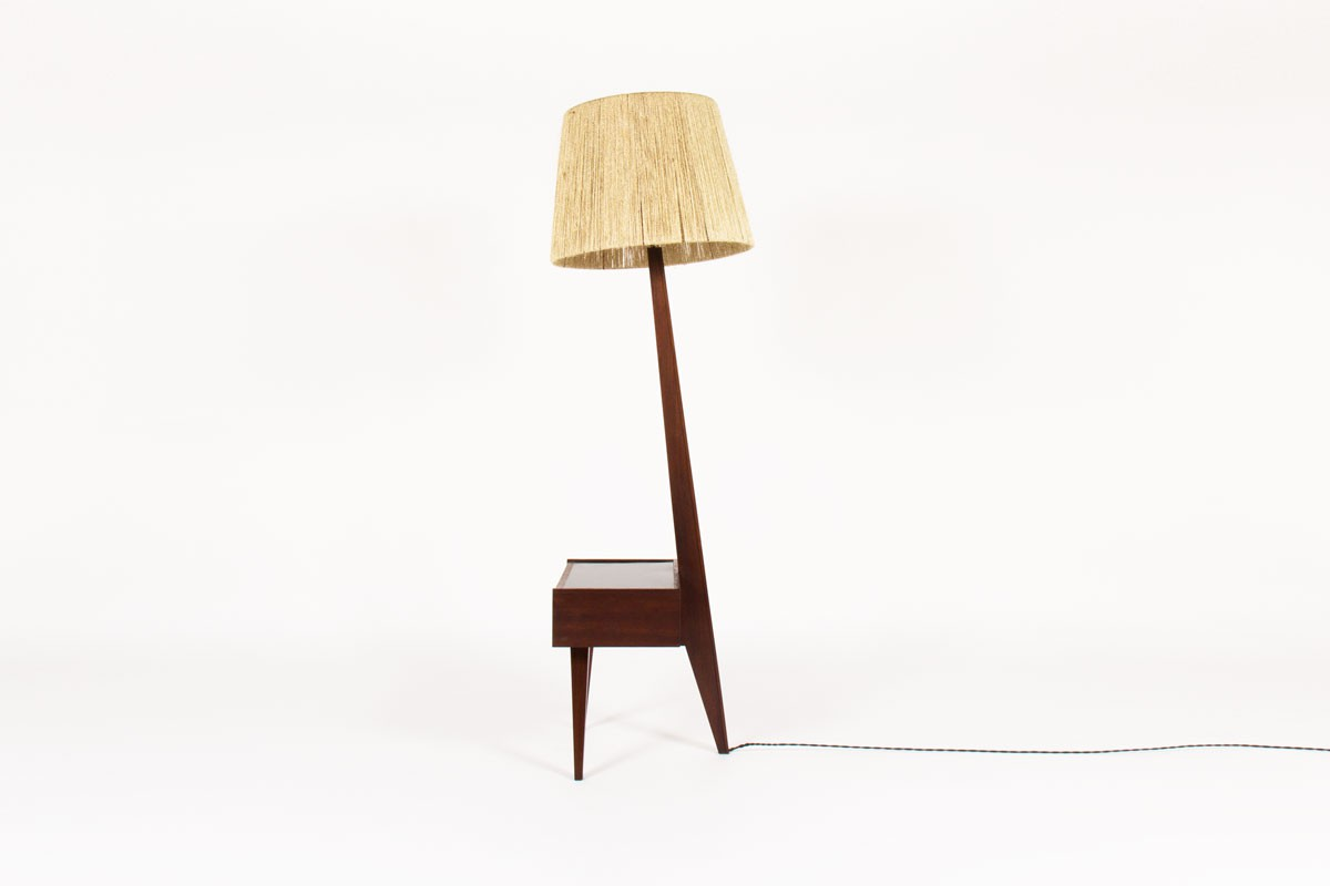 Tripod floor lamp in rosewood and rope 1950
