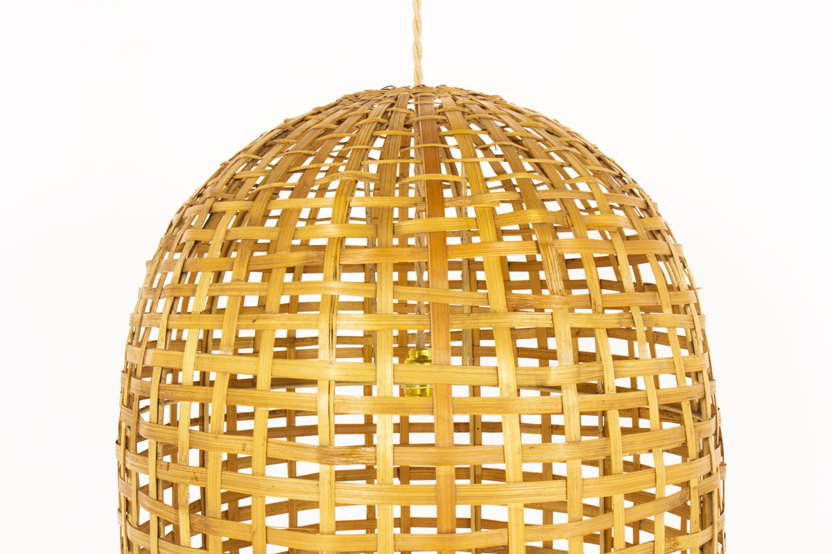 Pendant light model cylindrical in rattan 1950