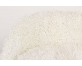 Armchair and footrest in white fur 1950