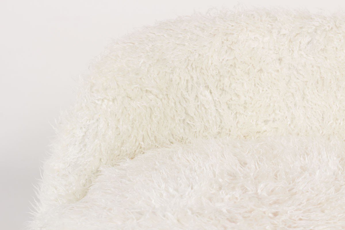 Fauteuil en poil blanc 1950