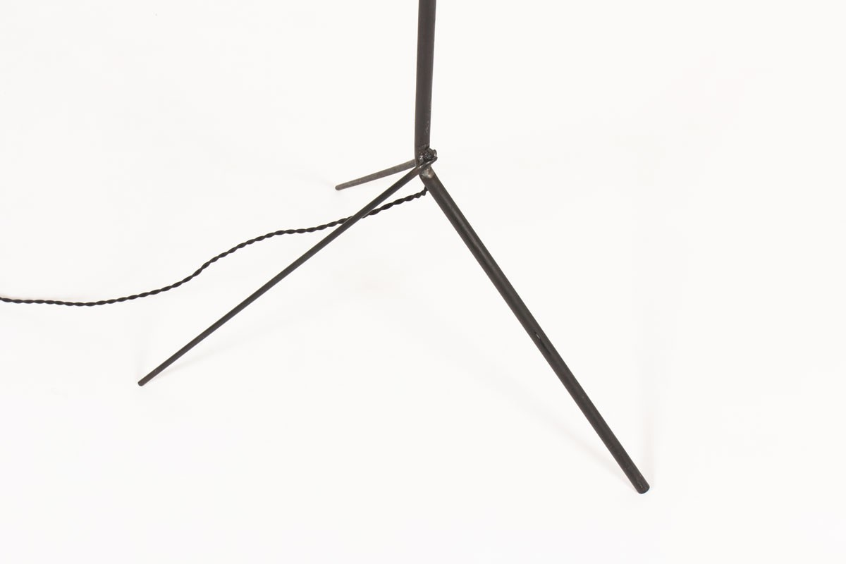 Tripod french floor lamp black metal and paper lampshade 1950