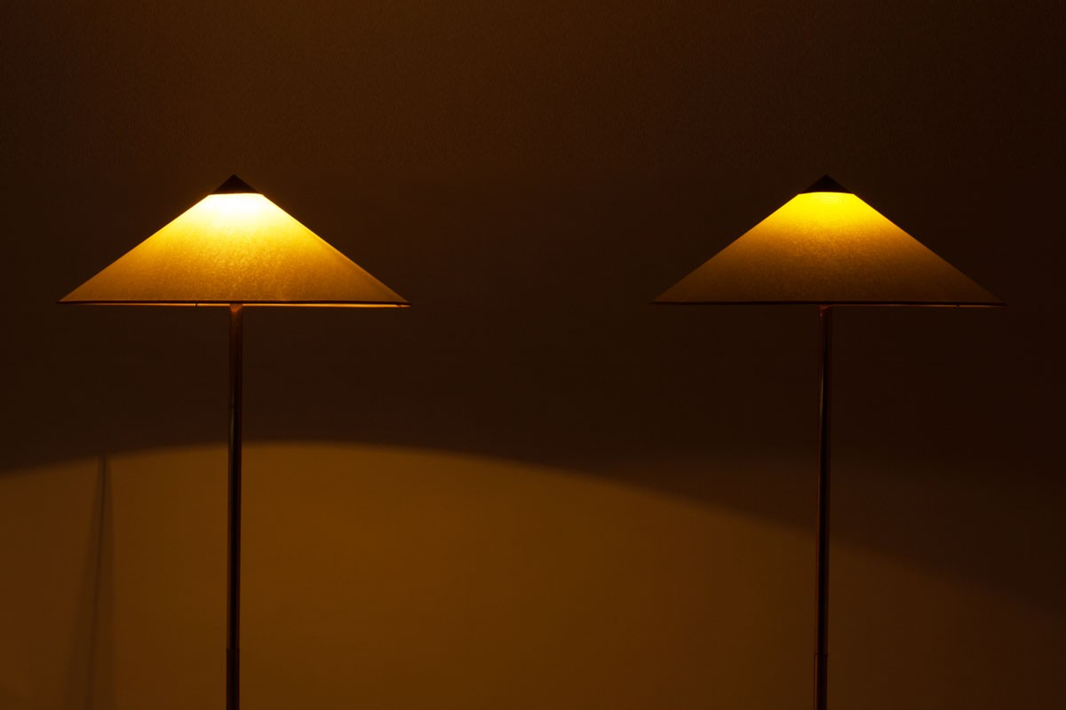 Floor lamps in brass lampshade model Chinese hat 1950 set of 2