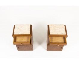 Chevets en chêne cérusé et plateau marbre rose 1950 set de 2