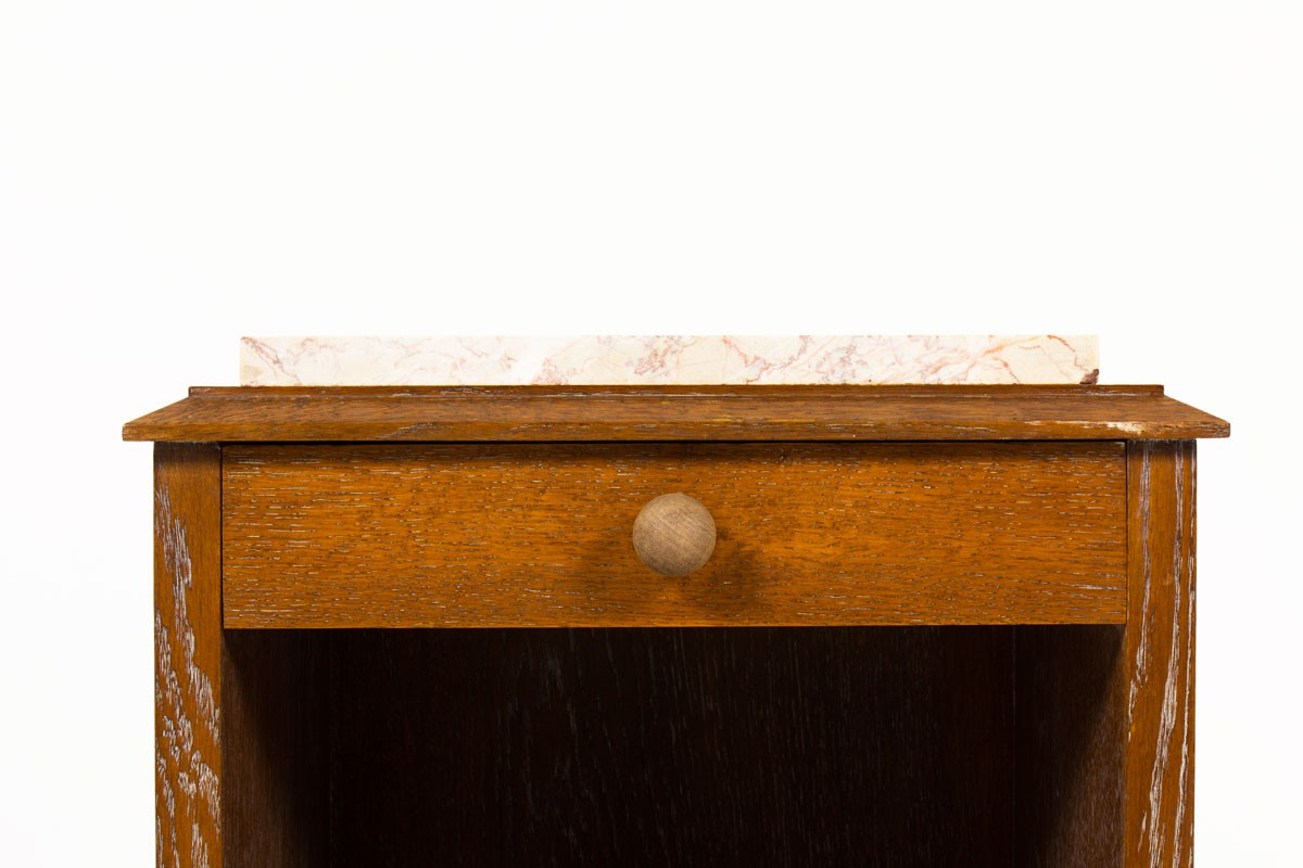 Bedside tables in white lead oak and pink marble top 1950 set of 2