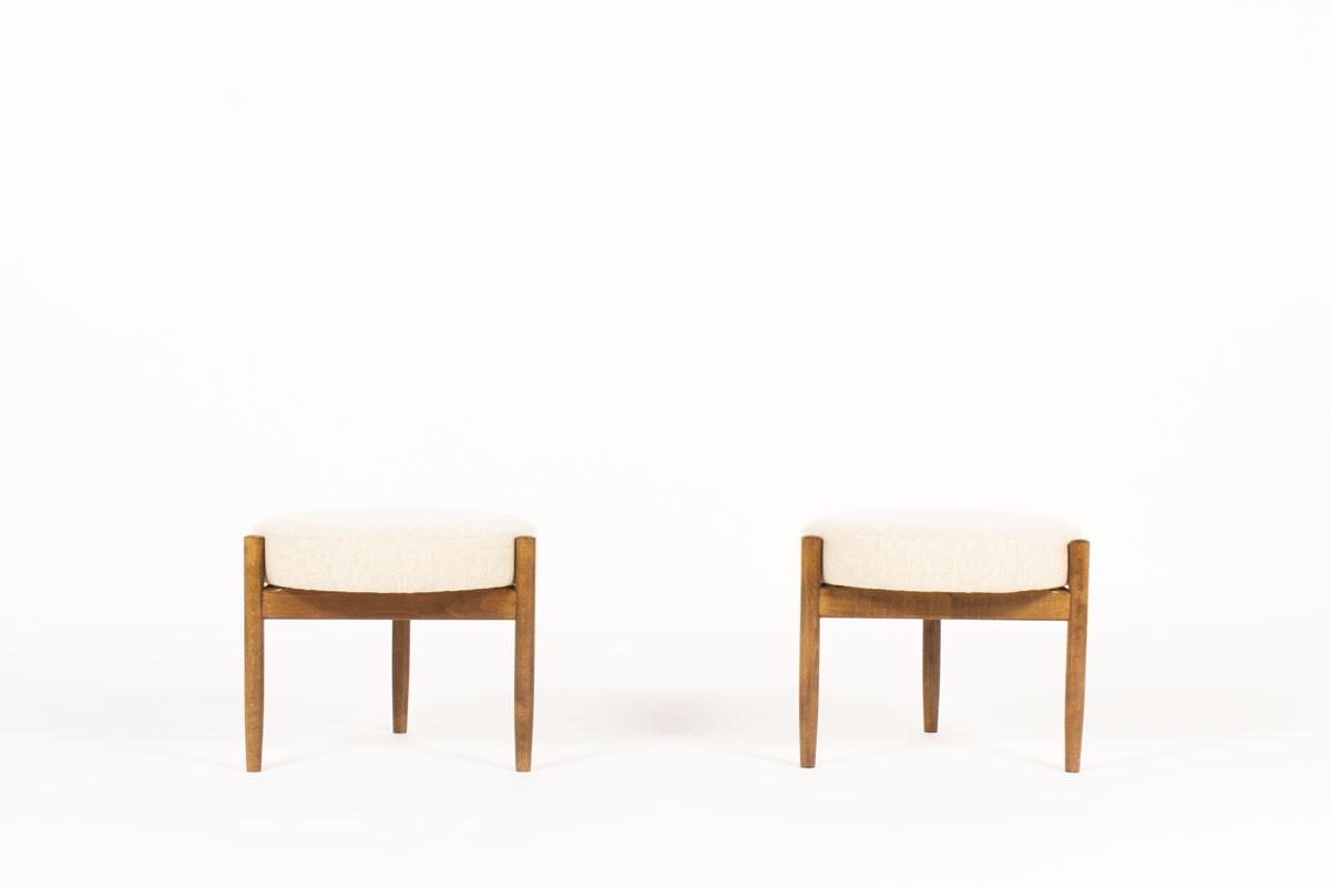 Hugo Frandsen stools in teak and beige linen edition Spottrup Mobler 1950 set of 2