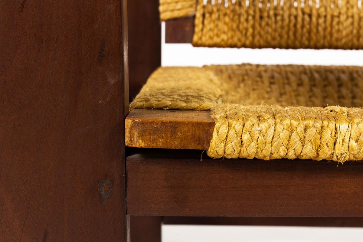 Fauteuils bois foncé et corde 1950 set de 2