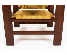 Armchairs in dark wood and rope 1950 set of 2