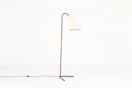 Floor lamp in black metal rattan and beige paper lampshade 1950