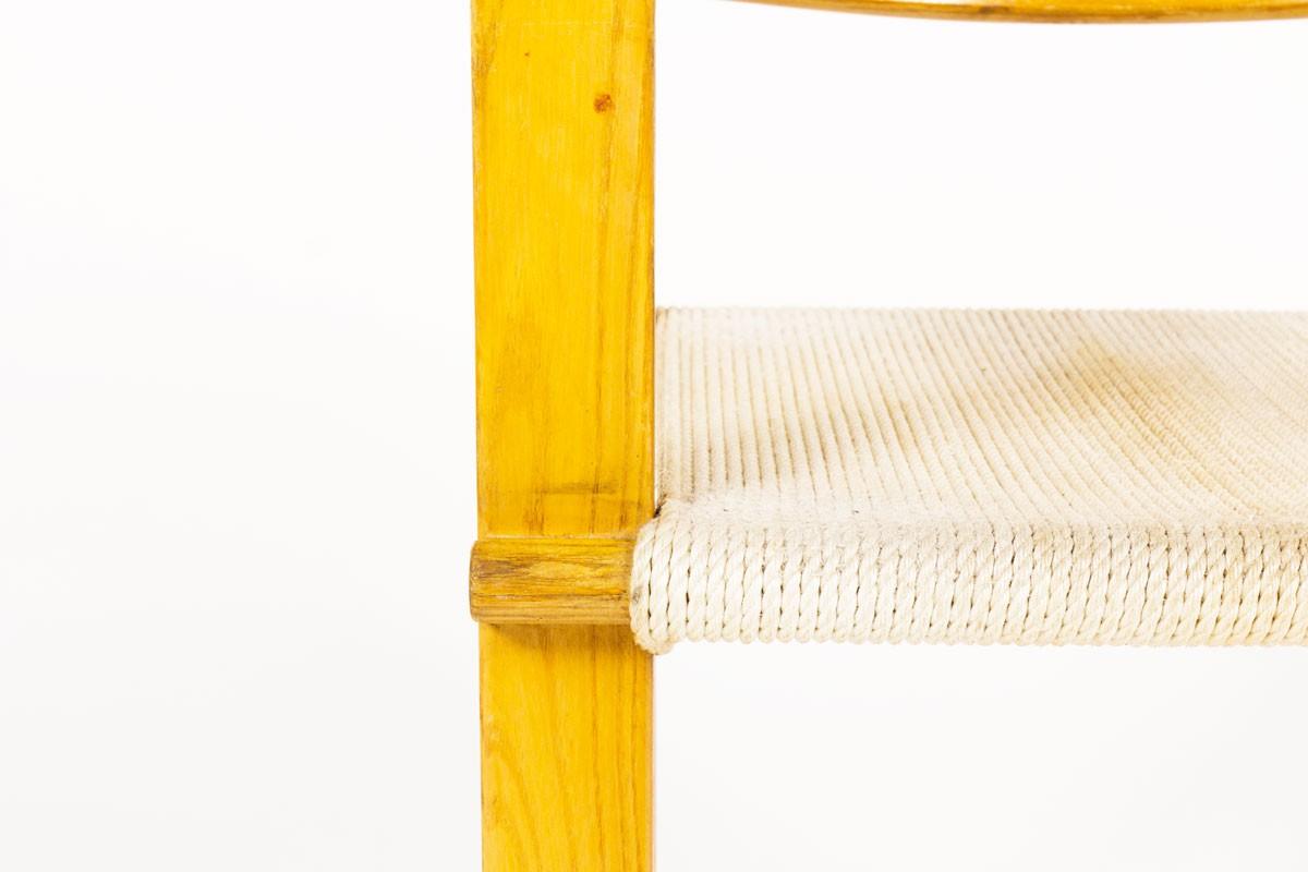 Fauteuil en frêne et corde blanche 1950