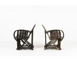 Armchairs in black patinated palm tree 1950 set of 2