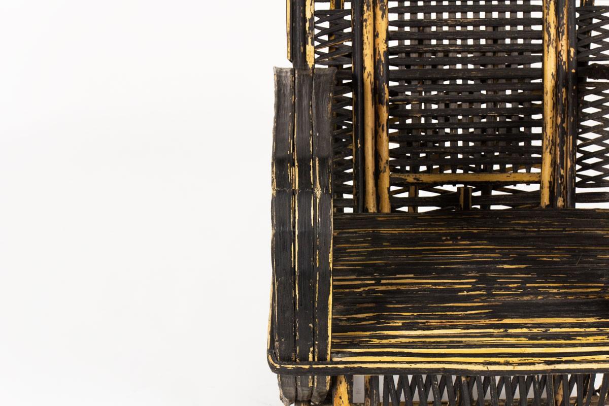 Fauteuils en palmier patiné noir 1950 set de 2