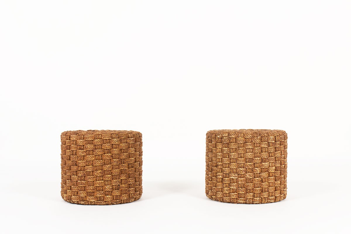 Stools in braided rope 1950 set of 2