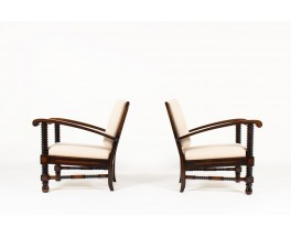 Charles Dudouyt armchairs in mahogany and beige linen fabric 1930 set of 2