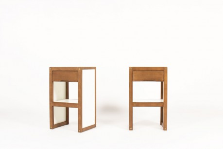 Andre Sornay nightstands in beech and white laminate 1960 set of 2