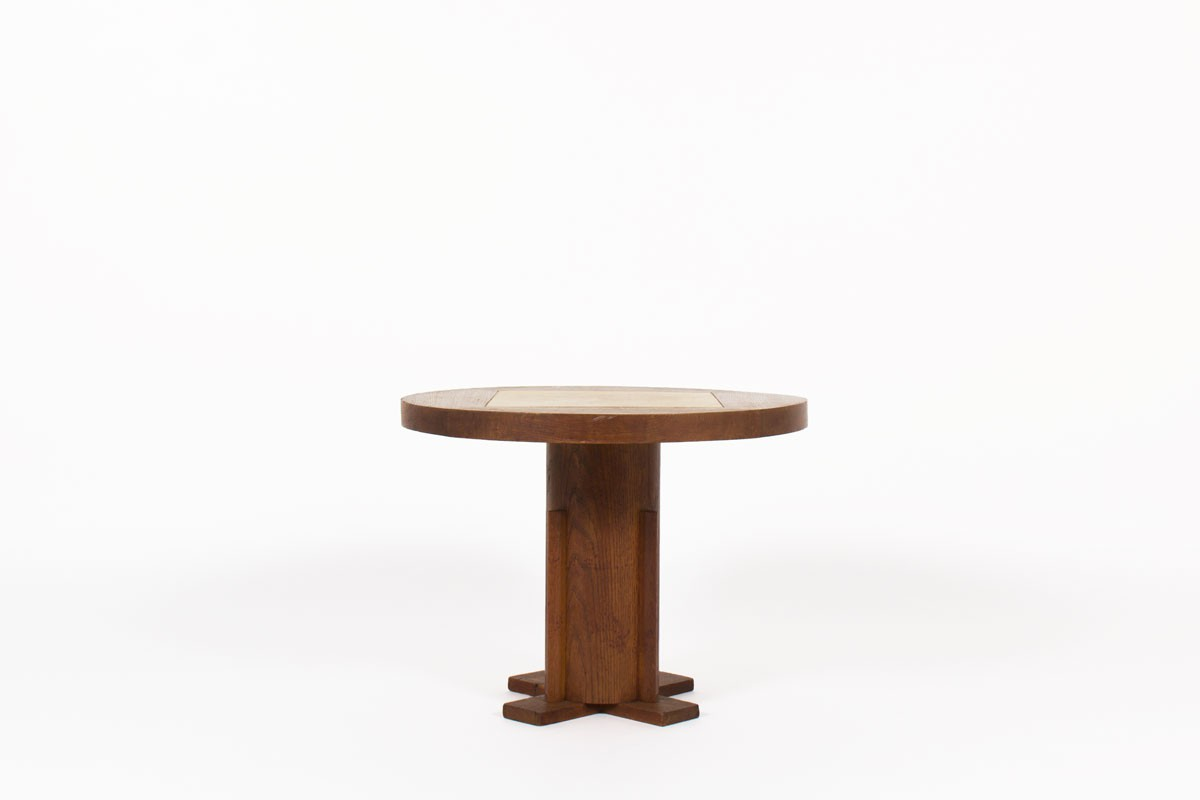 Charles Dudouyt round coffee table oak and parchment 1930