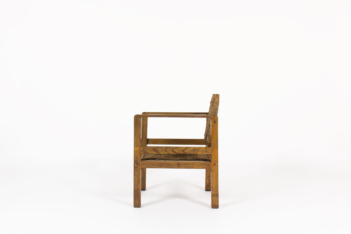 Armchair tinted pine and rope 1950