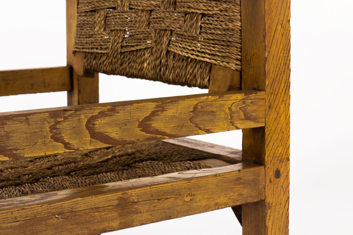 Fauteuil pin teinté et corde tressée 1950