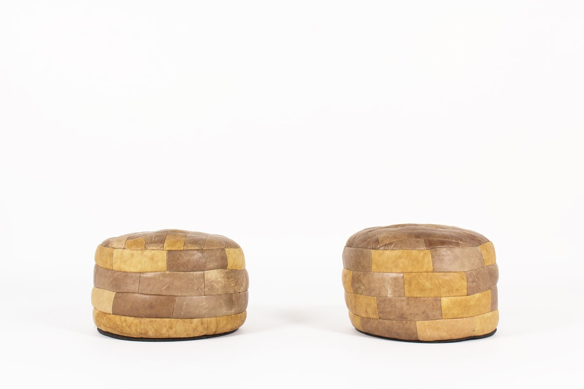 Ottomans in brown patchwork leather edition De Sede 1960 set of 2