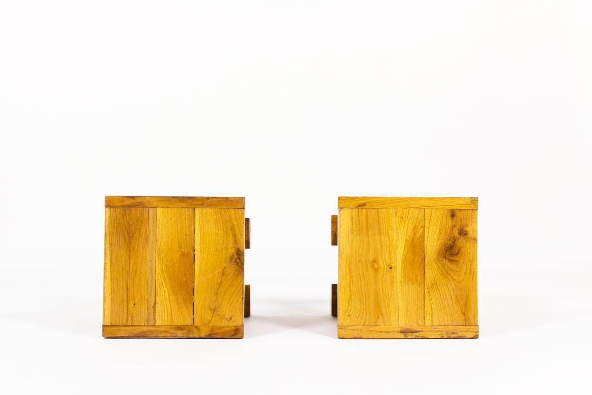 Tabourets carrés en orme massif 1960 set de 2