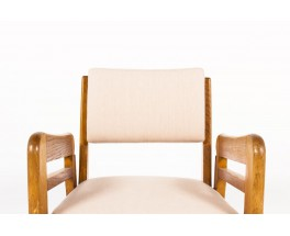 Armchairs in oak and beige linen fabric reconstruction design 1950 set of 2