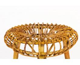 Franco Albini round stools in wicker edition Vittorio Bonacina 1960 set of 2