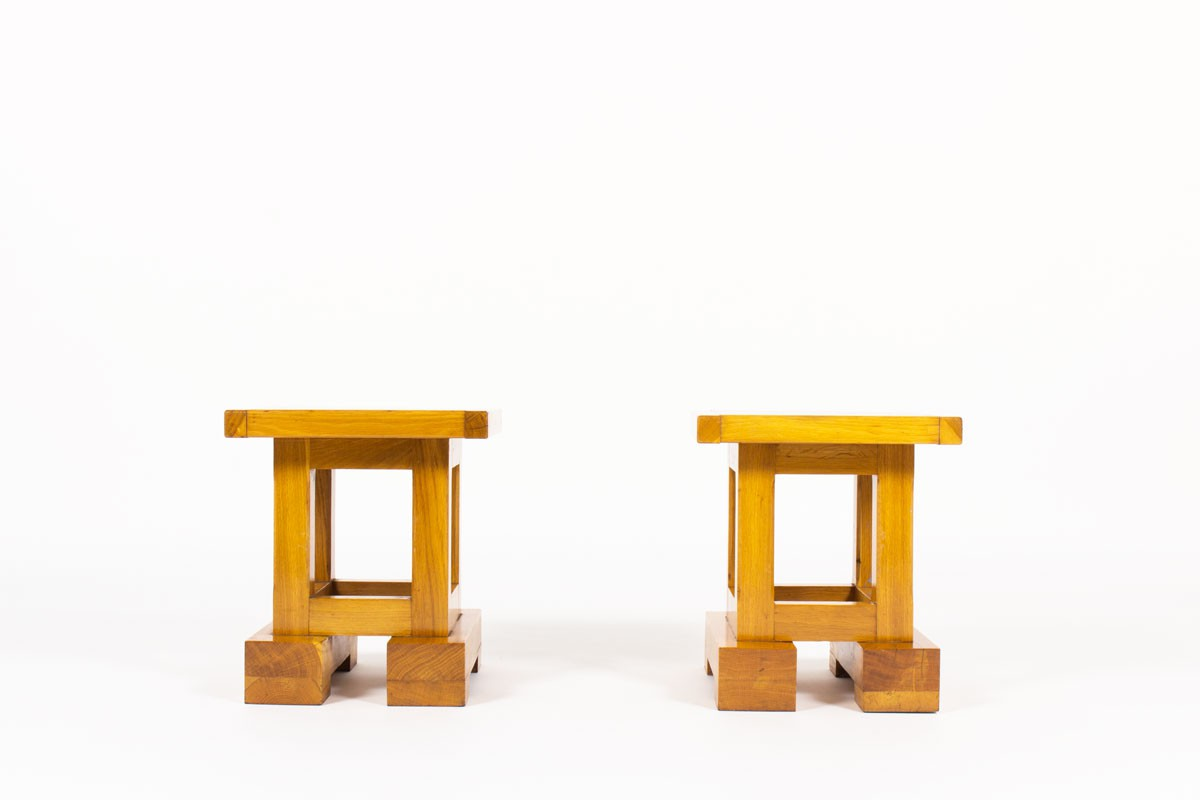 Square sofa ends in solid elm 1960 set of 2