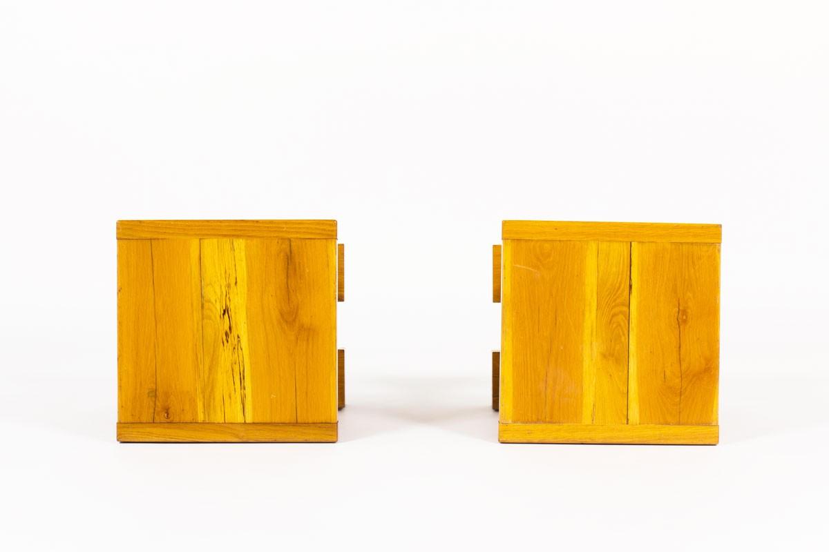Bouts de canapé carrés en orme massif 1960 set de 2