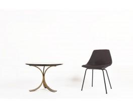 Table basse ronde métal doré et marbre noir 1970