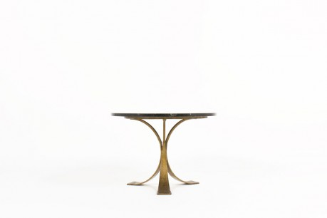Round coffee table gold metal and black marble 1970