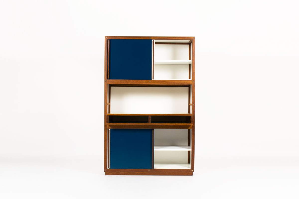 Andre Sornay storage unit with 4 doors in mahogany with white and blue lacquer 1960